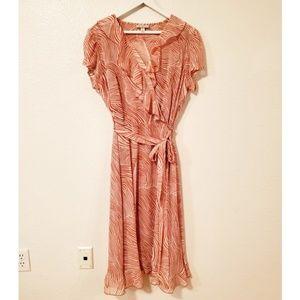 Dressbarn Faux Wrap Animal Pattern Ruffle Dress